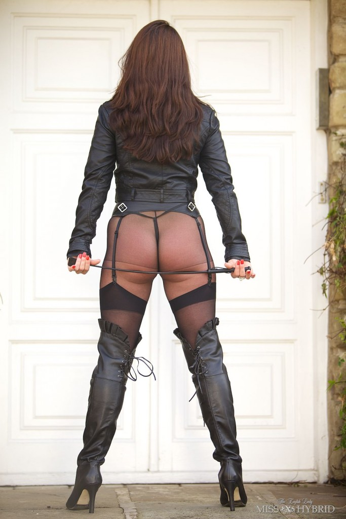 leather thigh boots, Miss Hybrid, pantyhose, outdoors, leather, mistress, domination