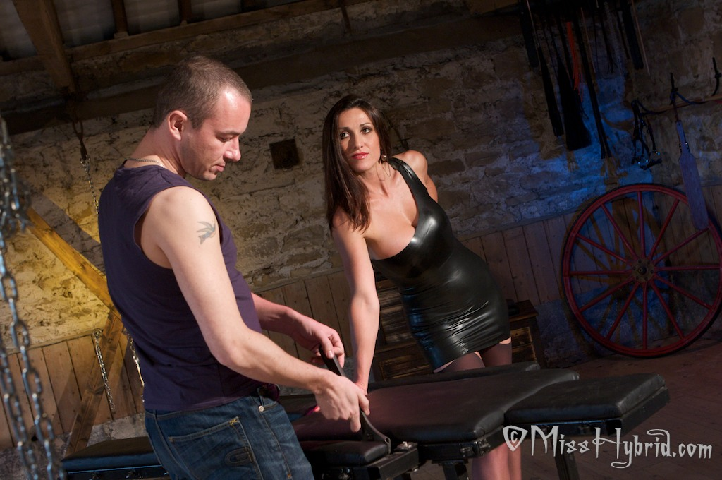 Miss Hybrid, stables, latex, handjob