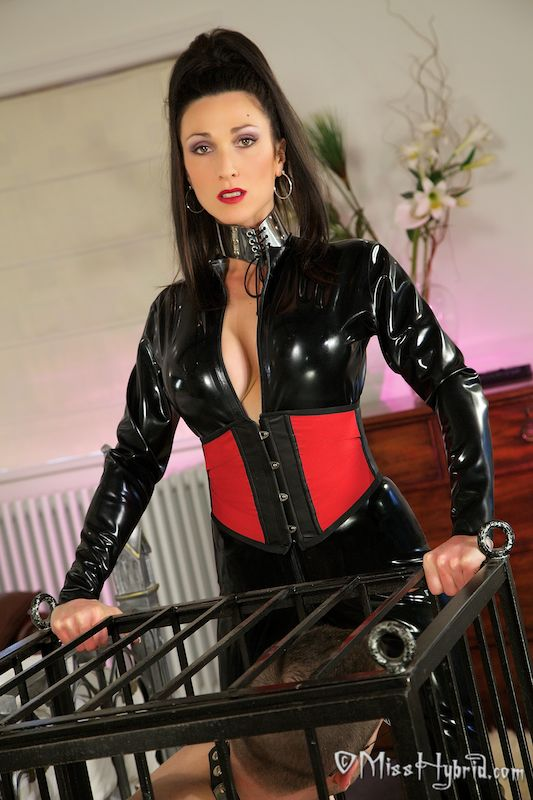 Miss Hybrid, latex, catsuit, cage, bedroom, mistress