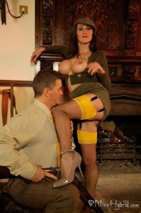 Daddy's boy seemed to loved the yellow welt of my stocking tops!