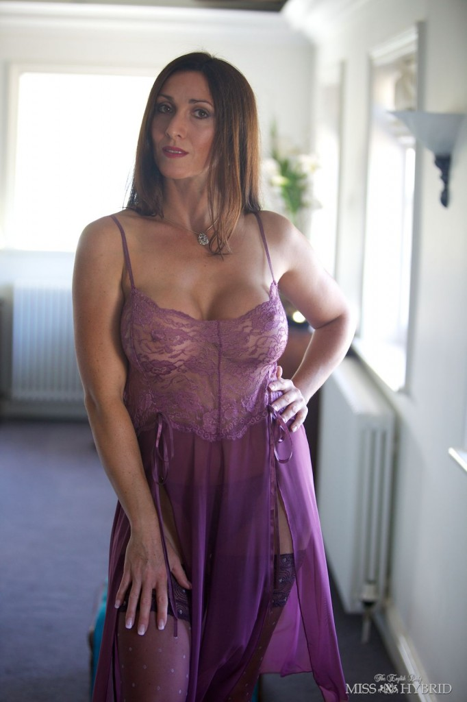 English Lady Miss Hybrid, nylons, lingerie, bedroom, stockings, orgasm