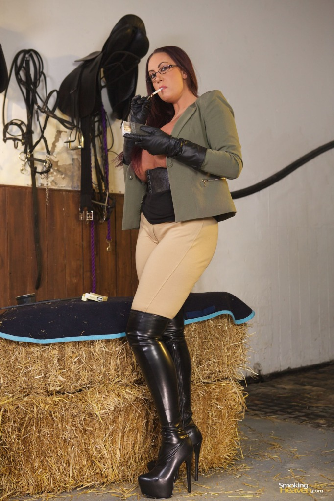 Emma Butt Smoking, thigh boots, jodhpurs, gloves, busty, voluptuous, fetish