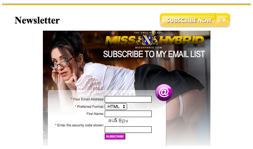 Miss Hybrid free newsletter sign up