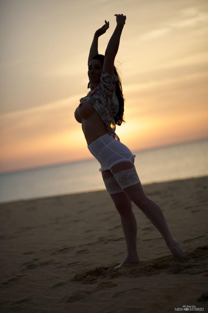 sunrise silhouette, Miss Hybrid, stockings, beach, sunrise