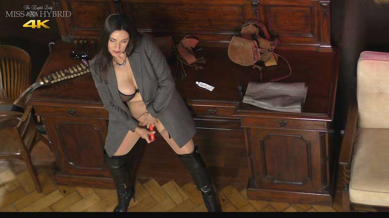 Miss Hybrid hard nipples, easy access pantyhose, leather thigh boots and sheer bra.