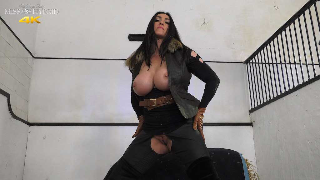Miss Hybrid ripped jodhpurs huge tits and thigh boots.