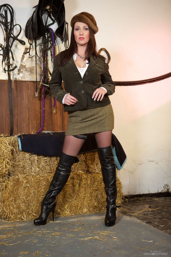 cock dressage whip, Miss Hybrid, boots, crop, domination, equestrian, femdom, nylons, stables, stockings