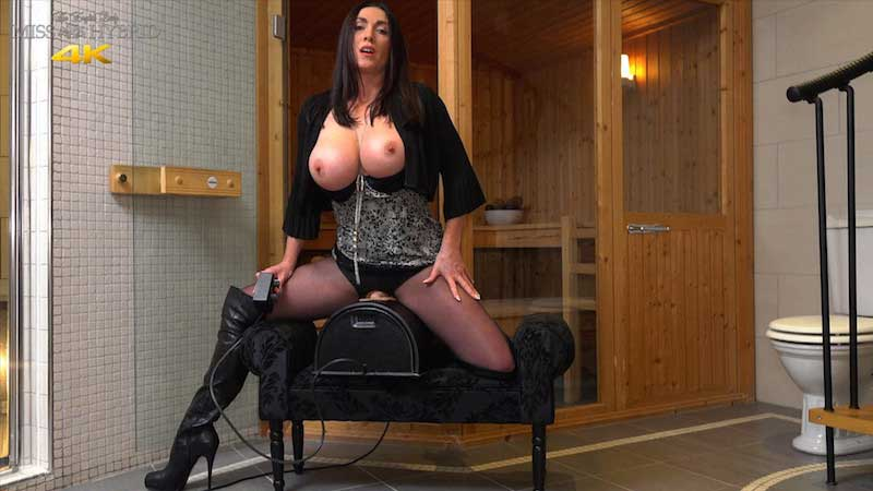 Easy access Sybian ride Miss Hybrid pantyhose and thigh boots.
