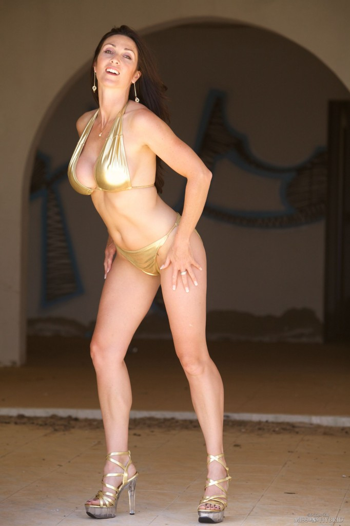 Gold Bikini, Miss Hybrid, heels, beach
