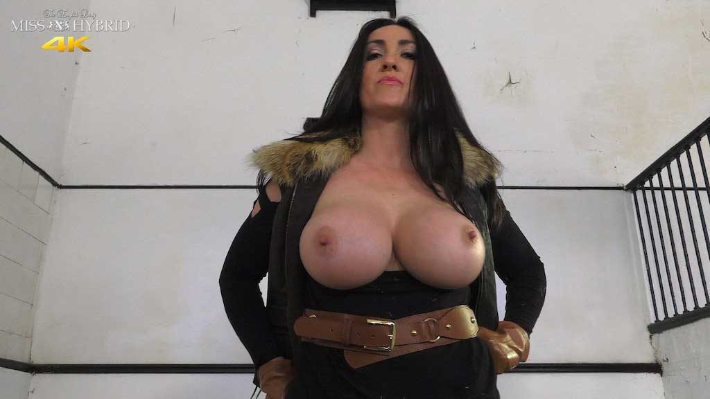 Miss Hybrid ripped jodhpurs and huge tits in the stables.