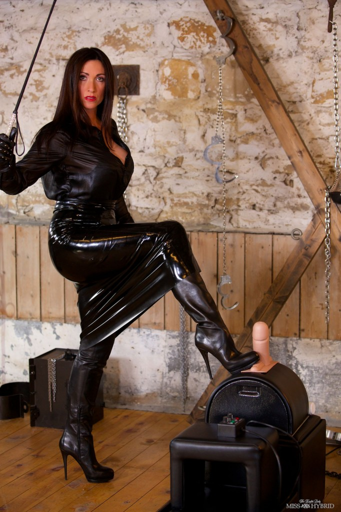 latex leather thigh boots, Miss Hybrid, dungeon