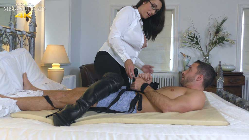 Mistress Hybrid sexy leather thigh boots huge tits blow job.