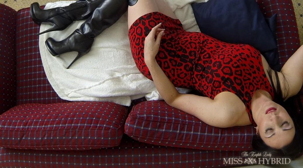 orgasmic dreams, Miss Hybrid, leather, thigh boots, busty, big tits, nipples, orgasmic