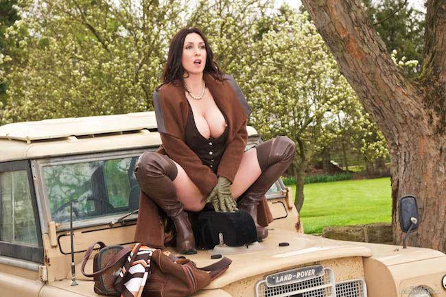 Miss Hybrid country Lady in brown leather thigh boots and short skirt.