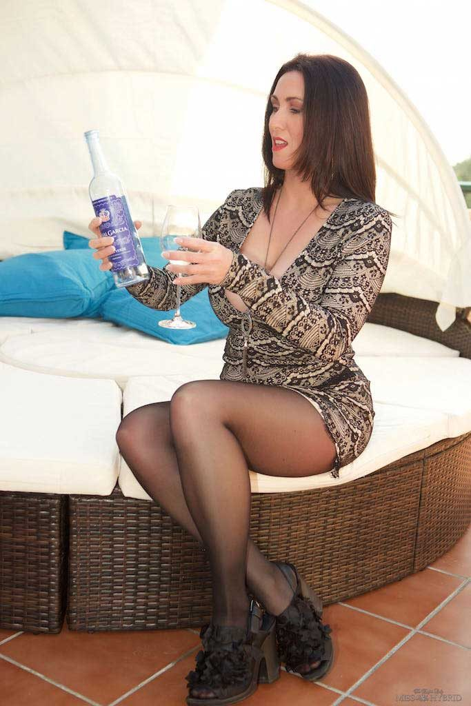 Miss Hybrid beautiful bottle nylon pantyhose outdoors.