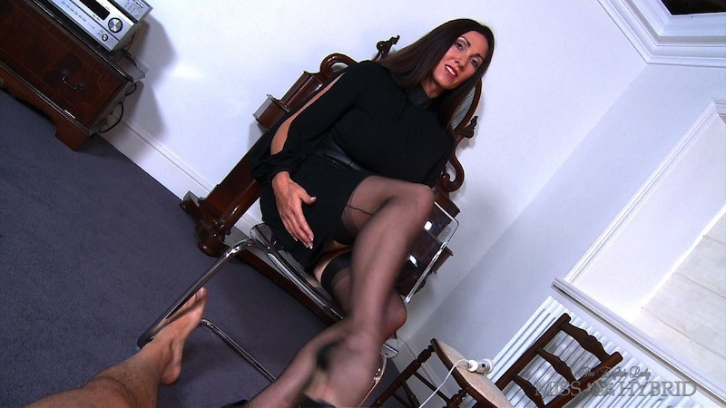 caged cock torment, Miss Hybrid, nylons