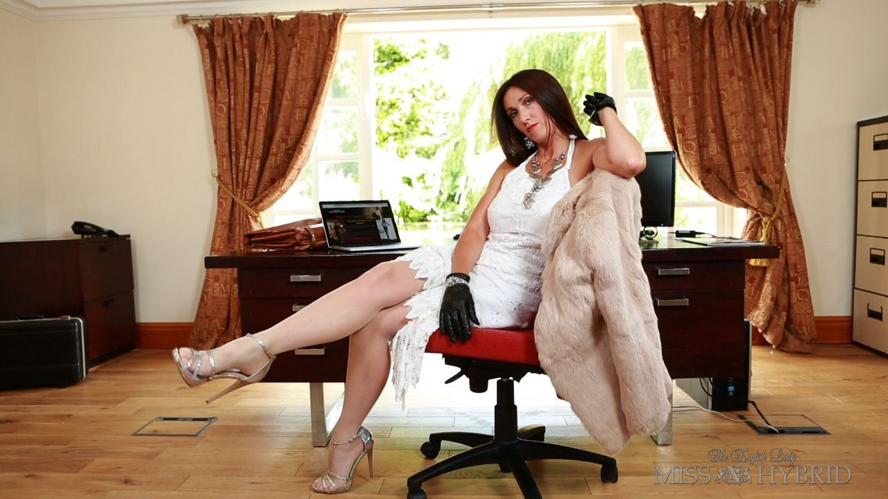 Office Slave Auditions, Miss Hybrid, nylons, suspenders, cock cage