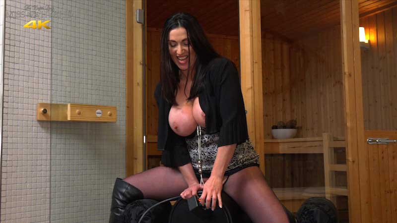 Easy access Sybian ride Miss Hybrid in leather thigh boots and nylon pantyhose.