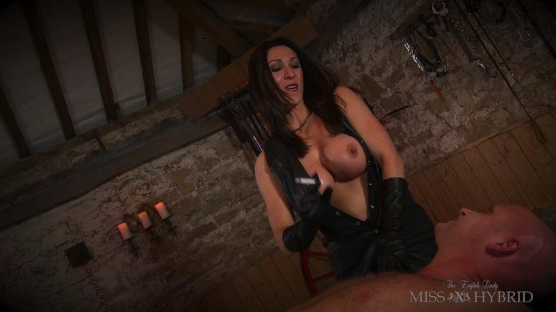 smoking hot handjob, Miss Hybrid, leather, dungeon