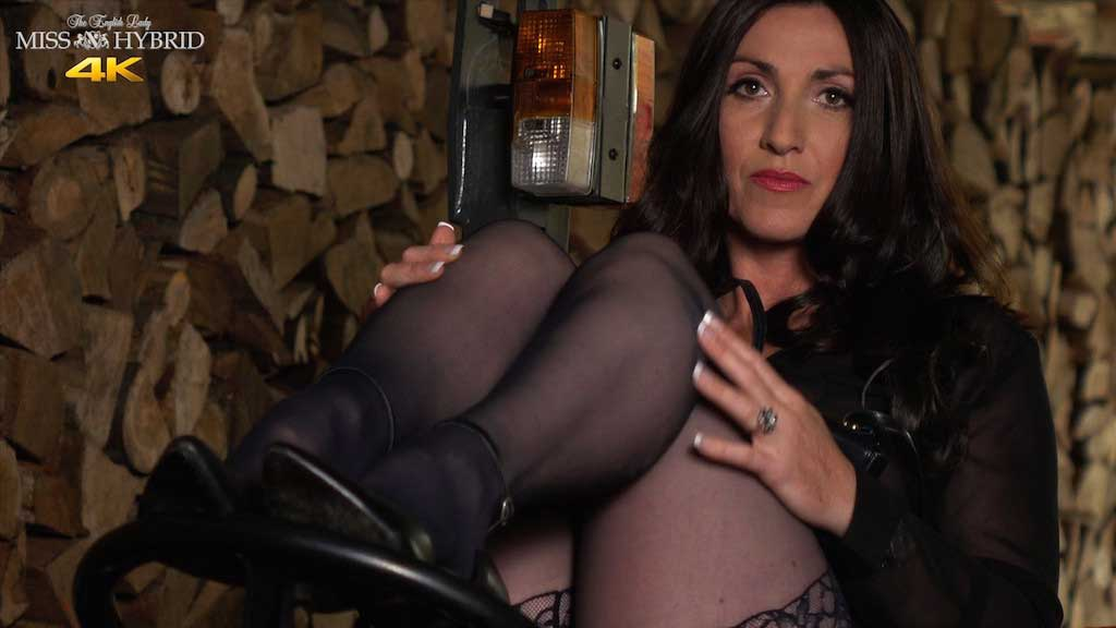 Open crotch panties Miss Hybrid in stockings and high heels inspecting wood.