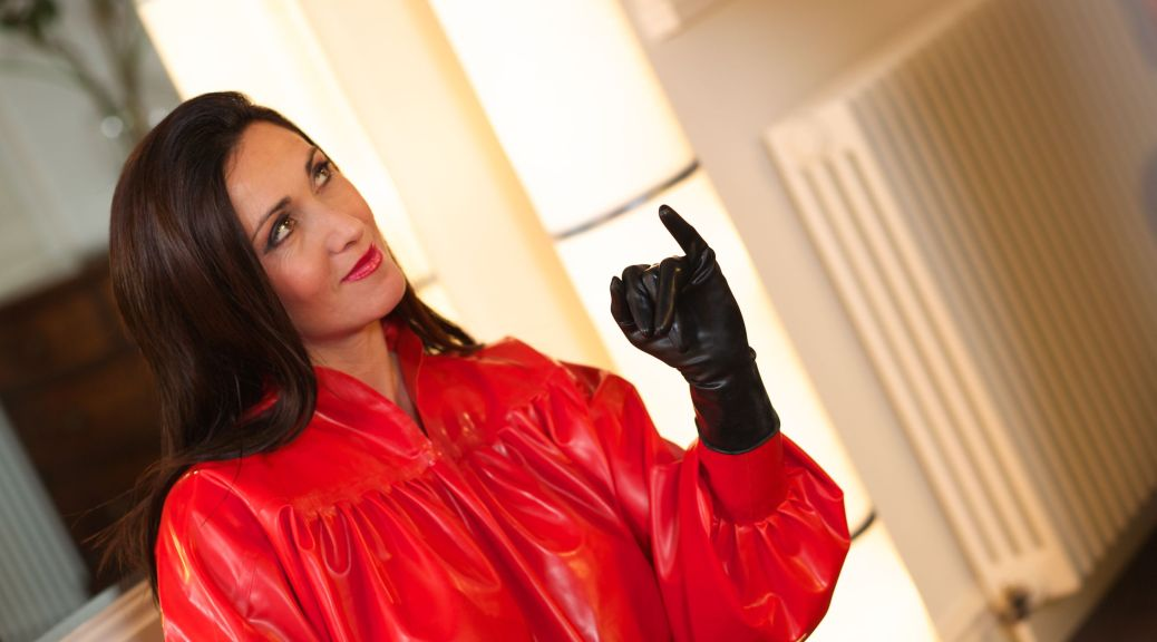 magic milking, Miss Hybrid, rubber, leather, handjob, magic wand, domination
