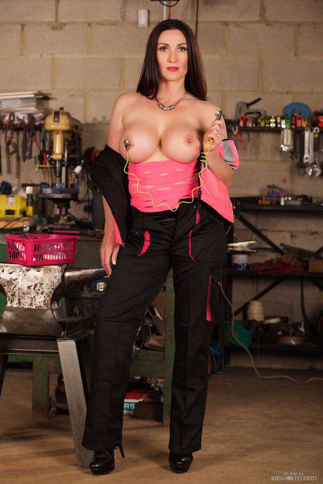Miss Hybrid workshop tool testing new heavy duty nipple clamps.