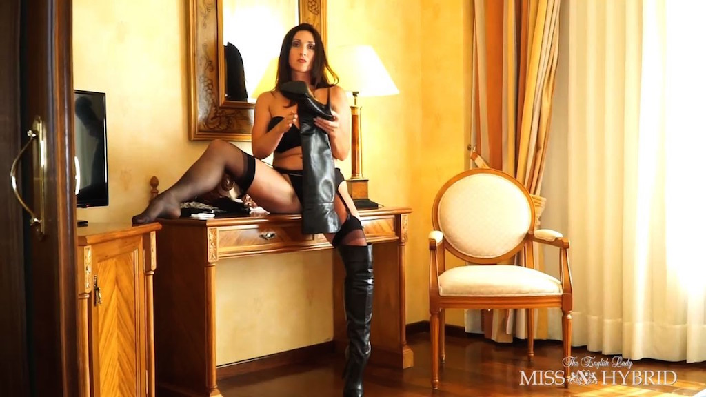 leather thigh boots, Miss Hybrid, stockings, suspenders, leopard print, high heels, see through