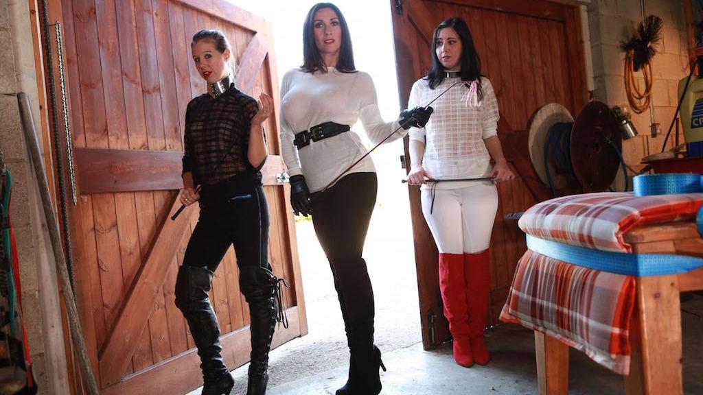 naughty maids, Miss Hybrid, Masie Dee, Honesty Calliaro, BDSM, boots, Hitachi Magic Wand, outdoor, strapon, see through, mistress, femdom