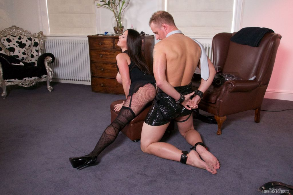 femdom mistress, Miss Hybrid, handjob, bondage, strapon