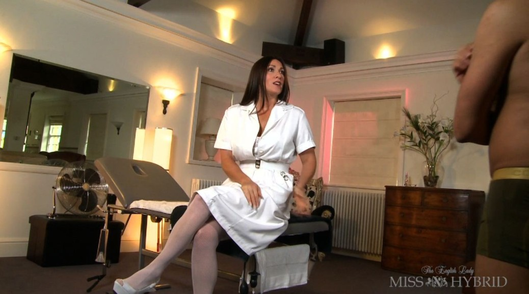 Nurse Hybrid Excessive Masturbation Clinic, Miss Hybrid, vintage, uniform, nylons, stockings, bondage, handjob