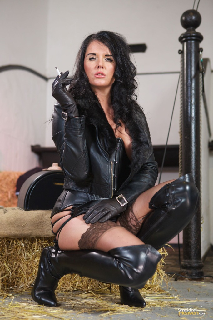 leather wearing mistress, Raven Lee, smokingheaven, cigarettes, smoking fetish, leather, thigh boots, leather boots, Sybian, Miss Hybrid