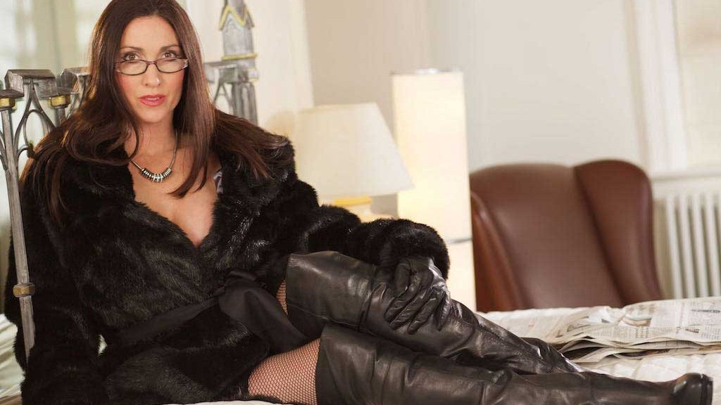 Miss Hybrid leather boots, gloves and stockings.