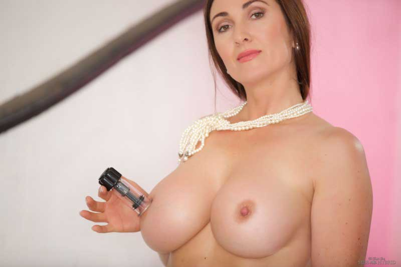 Miss Hybrid big beautiful tits hard niples and nipple suckers.