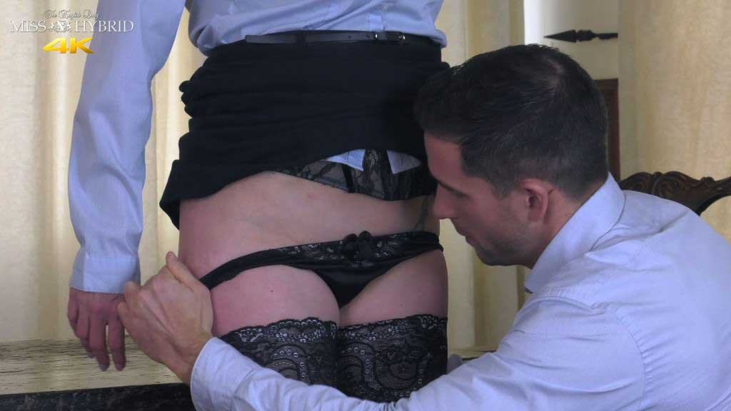 Miss Hybrid personal assistance, sexy stockings, high heels and glazed tits.
